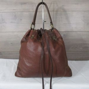 Lucky Brand Brown Leather Drawstring Hobo Shoulder